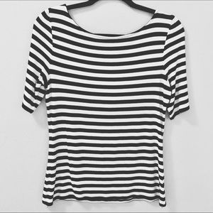 WHBM Black White Striped Top Size Medium